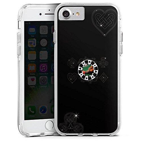 Apple iPhone 7 Bumper Hülle Bumper Case Glitzer Hülle Poker Chip Heart Bumper Case transparent