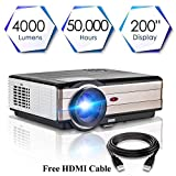 """(2018 Upgraded) CAIWEI Video Projector 1080p 4000 Lumen, 200"""" Display HD LED LCD Projector Home Theater Cinema 1280x800 TFT Display Full Color for Backyard Party BBQ Movies, Connection with TV Stick HDMI VGA USB AV PS3 PS4 Blue Ray DVD Player Phone"""
