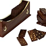 AIA India Wooden Dominoes Set Boat Tray Unique Handcrafted Toys And Board Games For Adult, Length-11.00 Inch,