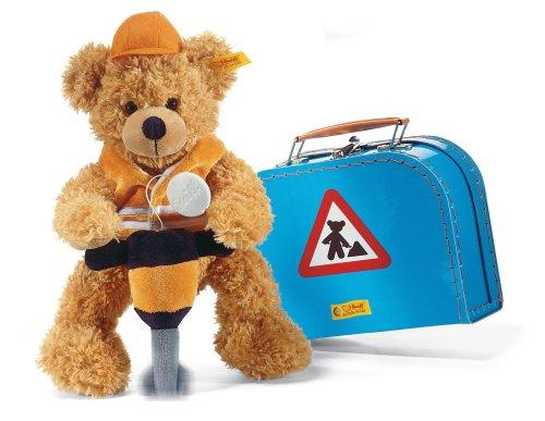 Steiff 111907 - Teddybär Fynn als Baumeister, rotbraun, ca. 28 cm,  im Koffer, mit Helm, Warnweste, Schlagbohrer aus Plüsch