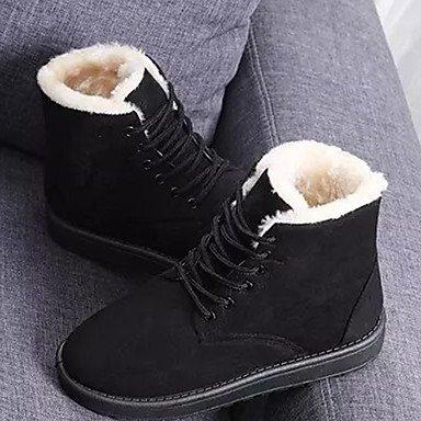Wsx & Plm Femmes-bottines-loisirs Casual-confortable-flat-fourrure-noir Rouge Gris Beige Gris