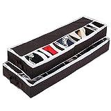 Fyore 5 Paar Schuhe Aufbewahrung Organizer Schuh-Unterbettkommode mit Reißverschluss und Griff 80*25*10cm