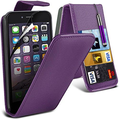 i-Tronixs High Quality Designed Premium-PU-Leder Geldbörse Book Flip Mit 3 Kredit / Bankkarte Slot-Kasten-Haut-Abdeckung mit LCD-Display Schutzfolie und Poliertuch für Apple Iphone 6 4.7 inch FLIP Dark Purple + Pen