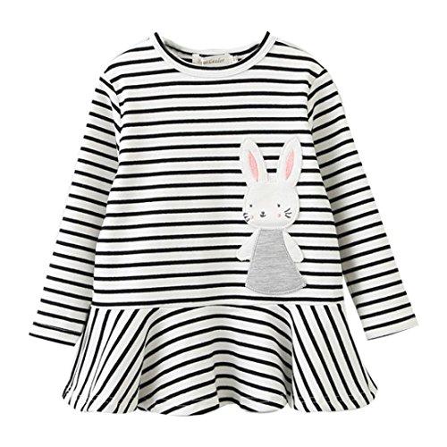 Longra Kleinkind Baby Kinder Mädchen Stickerei Kaninchen Gestreifte Prinzessin Kleid Mädchen Herbst Kleidung Langarm T-Shirt-Kleid (2-6 Jahre) (120CM 4Jahre, (Katze Kostüm Regenbogen)