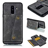 Per Samsung Galaxy A6 Plus Custodia per Cellulare Leggero Cuoio PU Caso Fondina Magnetico Slot Per Schede Protezione Portafoglio Resistenza Alle Cadute Custodie e Cover per Galaxy A6 Plus, Grigio