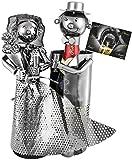 Brubaker Porte-Bouteille de Champagne - Couple marié/Mariage - Métal - Carte de vœux Incluse - Idée Cadeau Originale - Objet décoratif