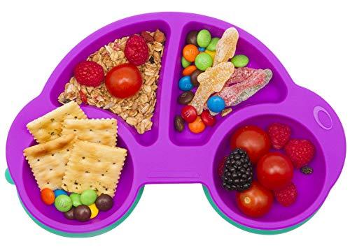 Baby Teller Schüssel Mini Silikon Tischset für Baby Kleinkinder und Kinder Tragbar Teller Baby Rutschfest Babyteller Tischset Abwaschbar für Spülmaschine, Mikrowelle (Neues Auto Lila)