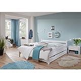 Lomado Einzelbett mit Bettschubkasten & Nachttisch ● massiv weiß lackiert ● Liegefläche 90x200cm ● Jugendbett Gästebett Einzelbett