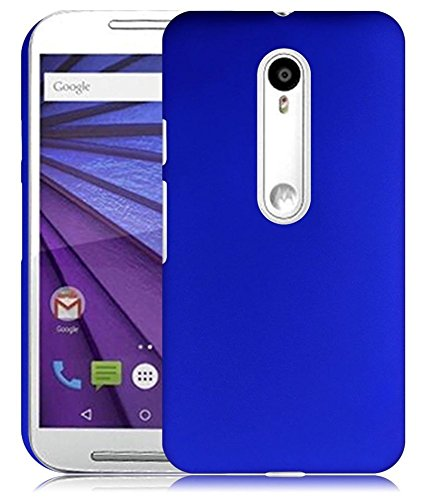SDO Luxury Matte Finish Rubberised Slim Hard Case Back Cover for Moto G 3rd Generation (Moto G3) - Blue + Clear Screen Guard + Touch Screen Pen Style Stylus Combo Set