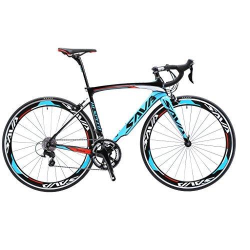 Sava Warwind5.0 Rennrad 700C Carbon Rahmen Fahrrad mit Shimano 105 R7000 22-Fach Kettenschaltung und Doppel-V-Bremse (Blau, 44cm) -