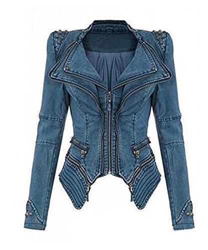 Brinny Damen Blogger Studded Jeansjacke Blazer Punk Biker Nieten Jacke Spike Kurze Schulter Jeans Jacke Übergangsjacke Smoking Mantel...