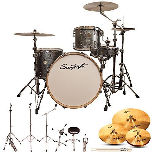 Sawtooth Command Serie 4-teiliges Muschel-Set mit 61 cm Bassdrum, ChromaCast Hardware & Zildjian ZBT Becken Drum Set with Zildjian ZBT Cymbals Silver Sparkle