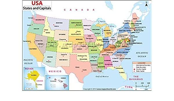 US States and Capitals Map: Amazon.co.uk: Office Products