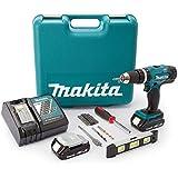 Makita DHP453 18 V Li-Ion Cordless Combi Drill with Accessory Set - Blue (101-Piece)