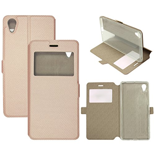 Casotec Premium Kickstand Caller-id Flip Case Cover with Snap Button Closure for Sony Xperia X - Gold  available at amazon for Rs.275