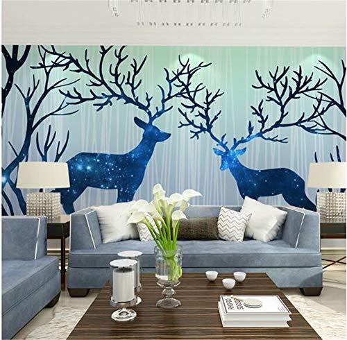 Pmrioe Textur 3D Wallpaper Tier Abstrakte Wandbild Baum Hirsch Pferd, 300X210 Cm (118.1 By 82.7 In)
