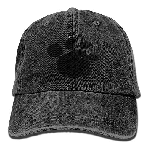 Unisex Washed Twill Cotton Baseball Cap Black Dogs Paw Print Vintage Adjustable Hip Hop Hat for Running Browning-twill Cap