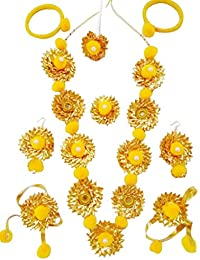 Floret Jewelry Designer Flower Gota Patti Jewelry Set With Maang Tika, Ring, Bangles, BajuBand And Earrings For...
