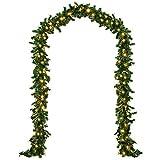 Deuba® Weihnachtsgirlande Tannengirlande Tannenzweiggirlande Weihnachtsdeko Weihnachts Girlande I 5 m I 100 LED's I Indoor & Outdoor I grün I warmweißes Licht