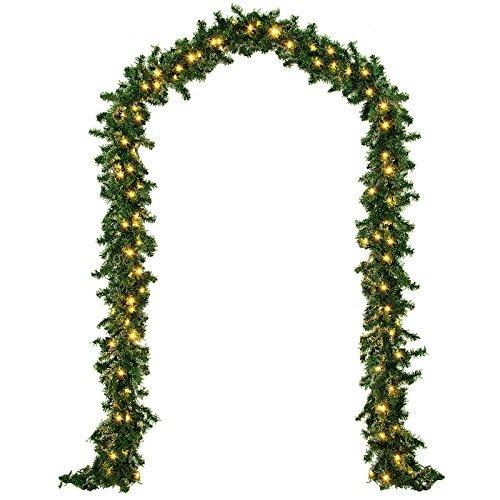 Deuba® Weihnachtsgirlande Tannengirlande Tannenzweiggirlande Weihnachtsdeko Weihnachts Girlande I 5 m I 100 LED\'s I Indoor & Outdoor I grün I warmweißes Licht