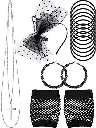 80s Kostüm Zubehör, Fischnetz Handschuhe Lace Stirnband Ohrringe Halskette Armband für 80s Partei