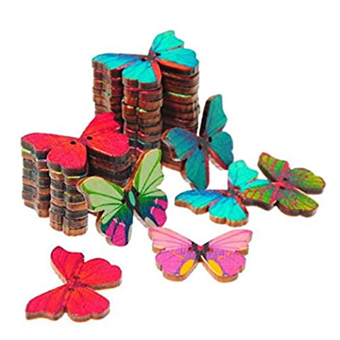 Winkey 50Pcs Mixed Bulk 2 Holes Butterfly Phantom Wooden Sewing Buttons Scrapbooking DIY Art