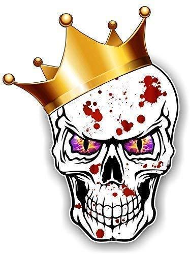 Gothic King Of Totenkopf Design Tragen Crown mit Lila Böse Augen und Blutspritzer Motiv für Hip Hop Skate Board & Rapper Vinyl Auto Aufkleber 115x85mm By Ctd
