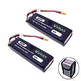 Wwman 2pcs 7.4v 3000mah 25C Li-poli Batterie di aggiornamento con i sacchi antideflagranti per i bug MJX B3 3 Ricambi RC Drone