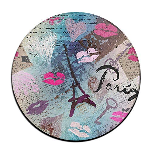 XIEXING Water Absorption Reactive Dyeing Durability Doormat London Building Ground Mat Circular Doormats Rug Pad Kids Tent Rugs Pink Coral Fleece 23.6 Inch(60cm) -