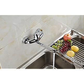 Mangeoo Todo el cobre de tipo mural cocina grifo caliente y fría, para colgar en la pared de la cuenca del plato, lavabo, servicio de lavandería, grifo de agua puede girar