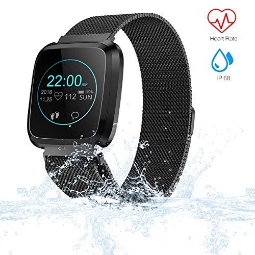 VIFLYKOO Fitness Armband mit Blutdruck,Fitness Tracker Wasserdicht IP68 Fitness Uhr mit Blutdruckmessung Pulsmesser Sport GPS Aktivitätstracker Schlafüberwachung Anruf SMS für Kinder Damen Männer