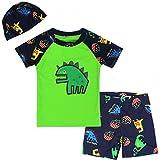 Weimisi Boys Short Sleeve Rash Guard Dinosaur Swimsuit Set (3T(95-105cm)