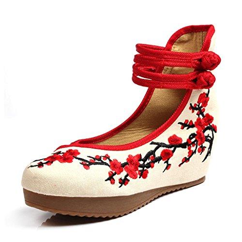 Vintage Chinesischen Stil Frauen Bestickt Schuhe Tuch Schuhe Elegante Ballettschuhe High Heels (Farbe : Rot, Größe : 35) (Größe 10-plattform Turnschuhe)