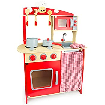 Leomark Kids Wooden Kitchen Wood Toy Childrenu0027s Role Play Pretend Set Play  Toy Chef