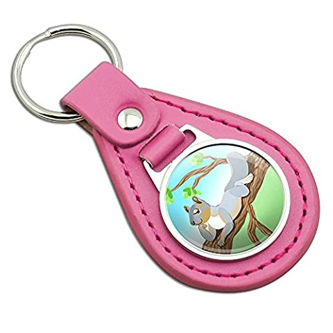 Sassy Squirrel Pink Leather Metal Keychain Key Ring