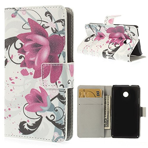 König-Shop Huawei Ascend Y330 Handy Hülle Schutzhülle Schutztasche Wallet Tasche Case Cover Etui Schale Handyhülle Handyschale Handytasche mit Standfunktion Blumen Lila / Violett