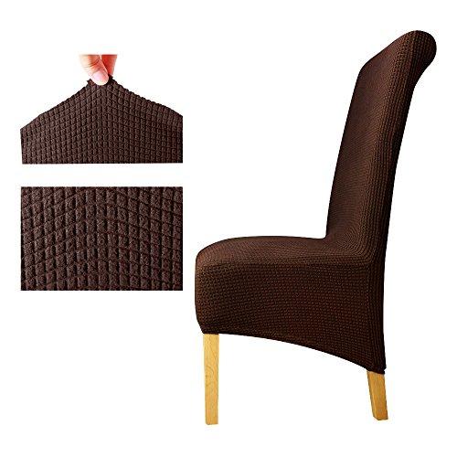 Zurück Plaid Chair Cover Sitzbezüge Stuhlhussen Restaurant Hotel Party Bankett Dark Coffee XL Sizes -