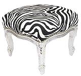 Casa Padrino Barock Fußhocker Zebra / Silber - Hocker Möbel