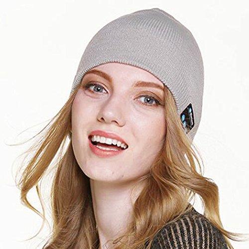 Beanie Hat con Wireless Headset Bluetooth Stereo Speakers Mic Musica Cap per Walking Sci di fondo Corsa (grigio)