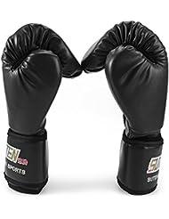1 par de la PU Taekwondo Karate Kickboxing Muay Thai combate de entrenamiento guantes llena de mano / guantes para niños con abrigo de la muñeca Guantes de saco de boxeo (negro)