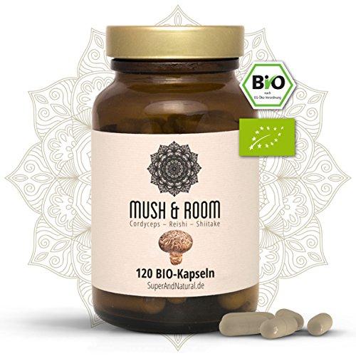 BIO Reishi BIO Cordyceps BIO Shiitake Kapseln I Vegan I 120 Stück I Mush & Room - Vitalpilz Superfood Mix (Stück Mix 40)