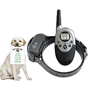 Chucalyn Collier de dressage de chien de commande à distance, rechargeable et imperméable à l'eau électronique de chien d'entraîneur de collier à télécommande collier avec le mode/Light de tonalité/vibration, facile à former-tous les chiens de taille, 100