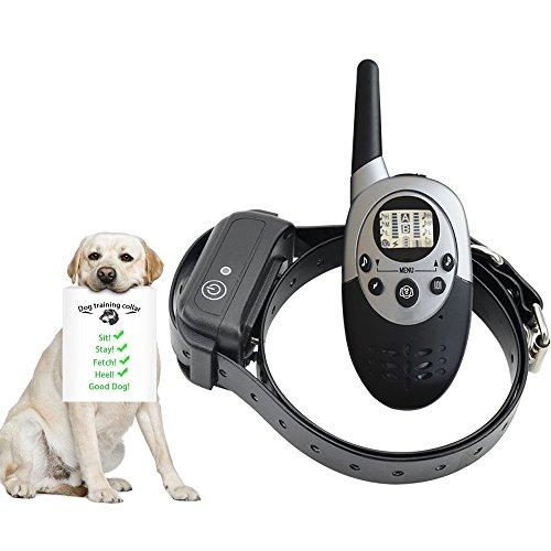 Chucalyn Telecomando Dog Training Collare, Ricaricabile e Impermeabile elettronico Dog Trainer Collare cieco Funzionamento Telecomando Collare con Tono/Vibrazione modalità/Light