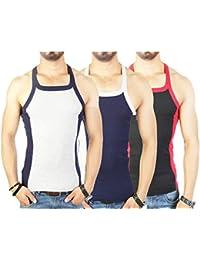Zimfit Men's Gym Vest 112 Pack Of 3 (Grey_Navy_Black)