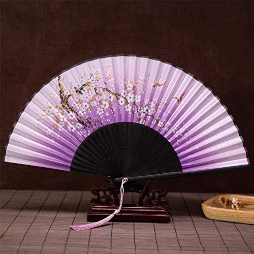 XIAOHAIZI Faltfächer Chinesische Windgebläse Antike Wind Lila Blume Weibliche Japanische Kleine Retro Tuch Sommer Wind Tanz Tanz Faltung Klassischen - Office Cat Kostüm