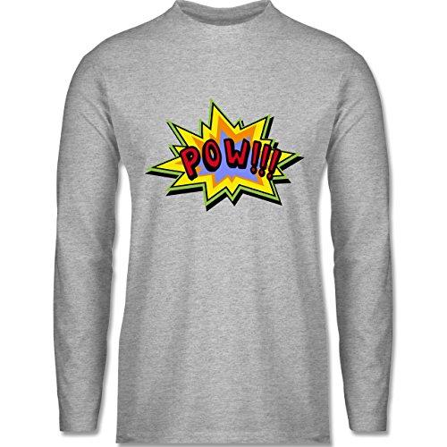 Shirtracer Comic Shirts - Pow!! - Herren Langarmshirt Grau Meliert