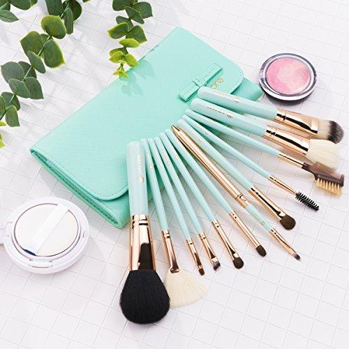 Make up Brushes, amoore 12 Pcs Makeup Brushes Set Make up Brush with Case Foundation Brush Powder Brush Concealer Brush Eyeshadow Brush (12 Pcs, Green)