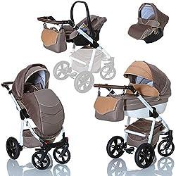 LCP Kids Poussette combinee 3en1 LUCATO eco cuir pour bebe et enfant 0-36 moins pliable avec module canne et siege auto groupe 0+ du 0 a 13 kg - marron beige
