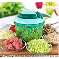 MAXGOODS Rotary Cutter Large Capacity 1L Food Chopper Manual Cutter with 3 Blades 420 Stainless Steel Blender Blasting for Chopping Vegetables Fruits Meat Onion Ginger Garlic Salad