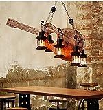 LRZZ Araña doméstica, lámpara de Techo Crystal Palace, lámpara de Pared de Hierro Forjado Araña Restaurante Vintage Sala de Estar Barco Nacional Talla de Madera Guitarra Araña Bar Música Arte Decorac
